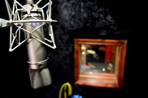 U87 Microphone in vocal booth